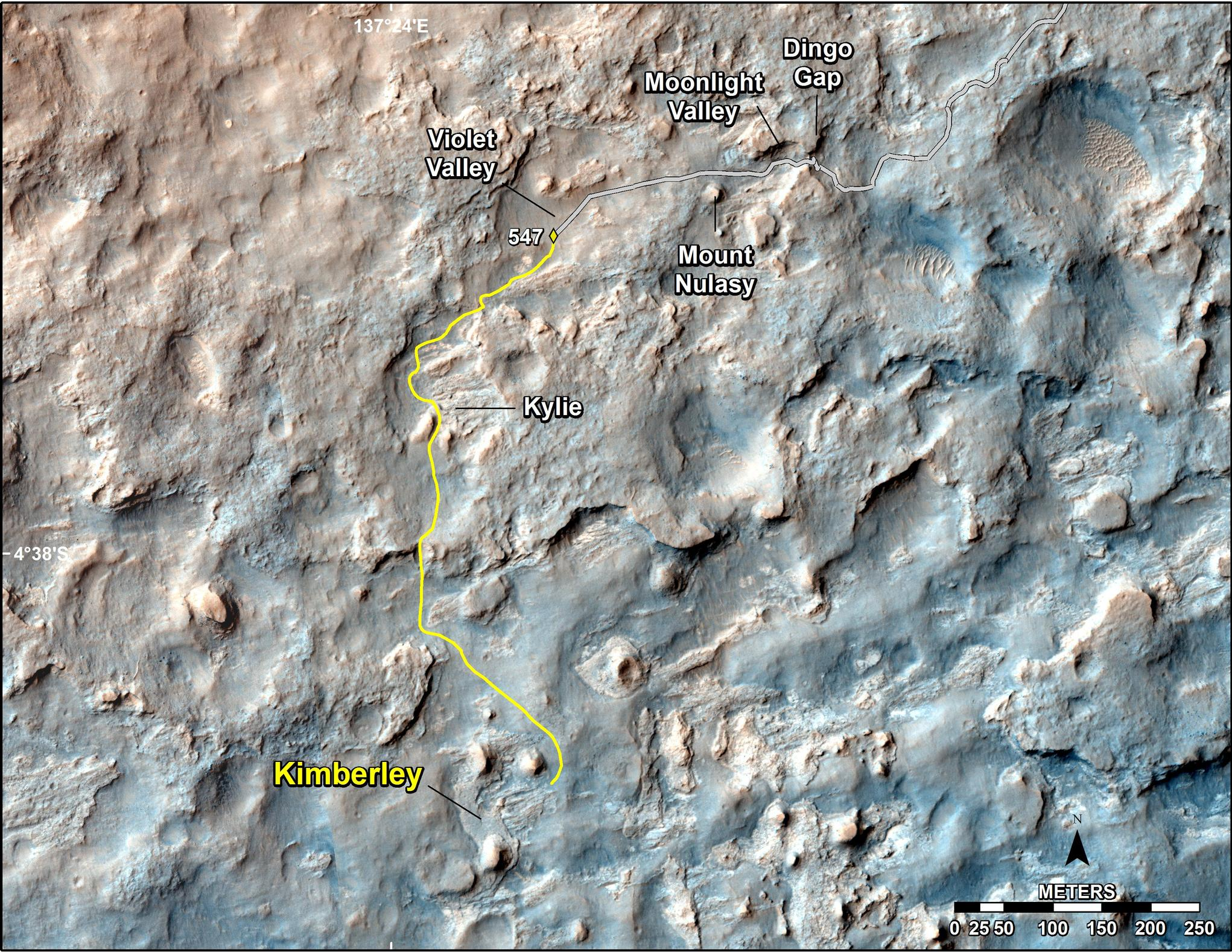 "This map shows the route driven and route planned for NASA's Curiosity Mars rover from before reaching ""Dingo Gap."""