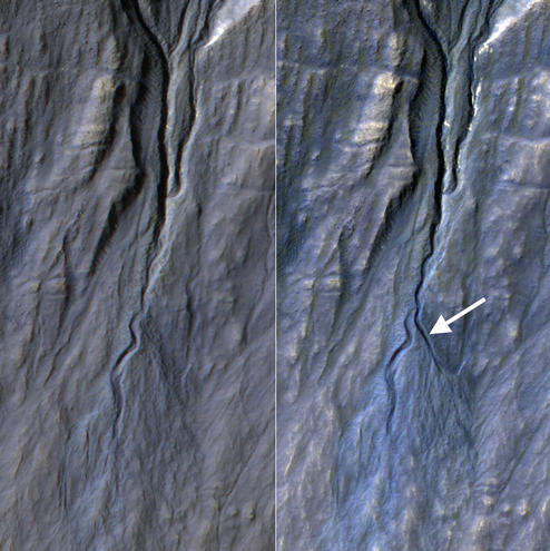 This pair of before (left) and after (right) images from the High Resolution Imaging Science Experiment (HiRISE) camera on NASA's Mars Reconnaissance Orbiter documents formation of a new channel on a Martian slope between 2010 and 2013, likely resulting from activity of carbon-dioxide frost.