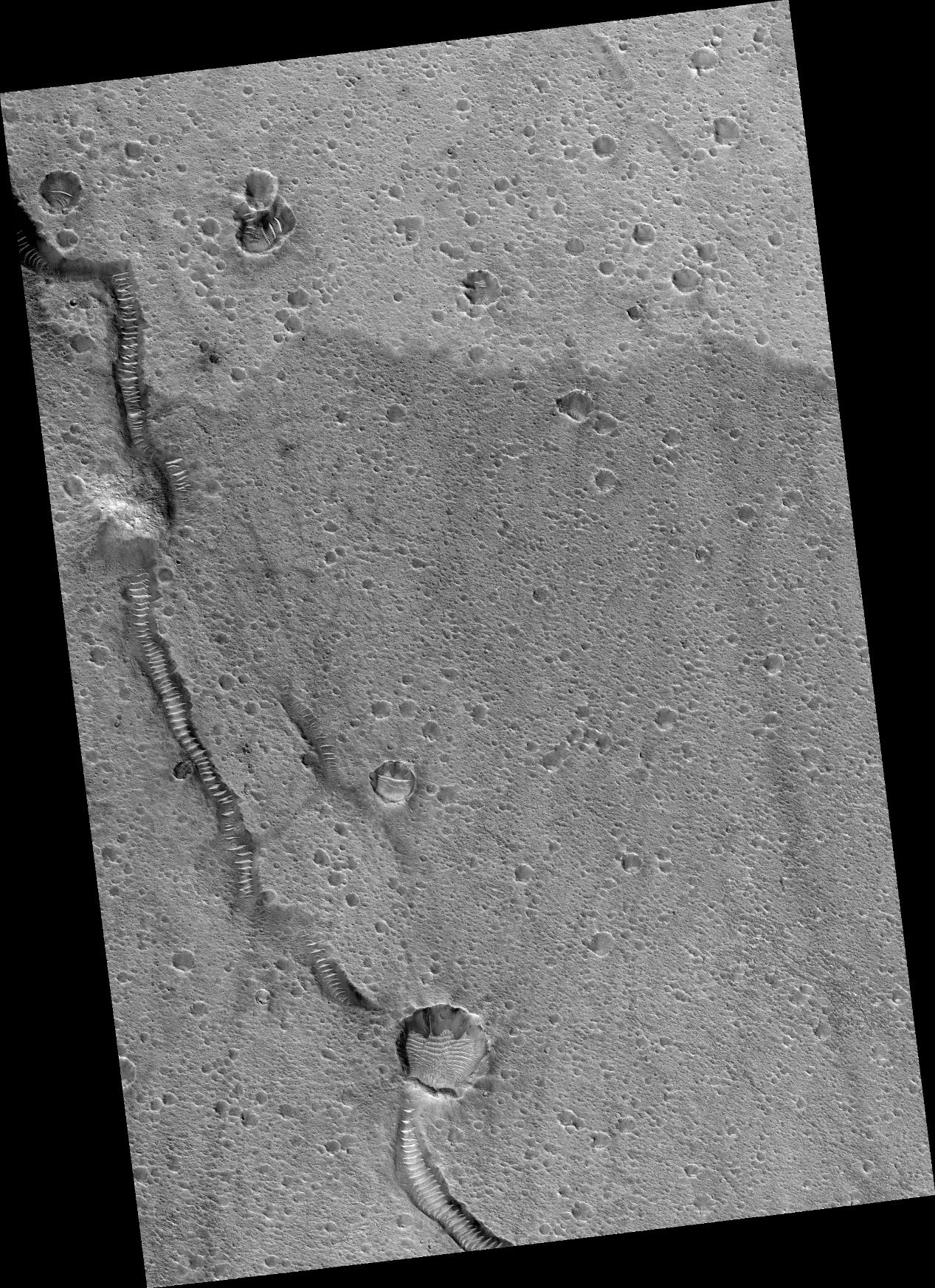 This image shows part of the surface of Chryse Planitia, near the mouth of several of the giant outflow channels carved by massive floods. At this location the channel is much too large to be seen within a HiRISE image, and this shows an area of level plains near the mouth.