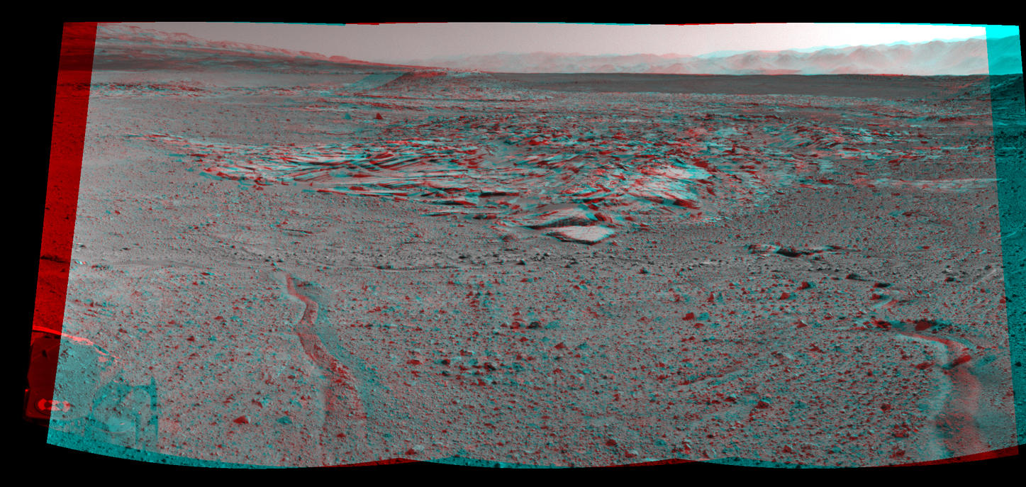 "NASA's Curiosity Mars rover recorded this stereo view of various rock types at waypoint called ""the Kimberley"" shortly after arriving at the location on April 2, 2014. The scene appears three dimensional when viewed through red-blue glasses with the red lens on the left."