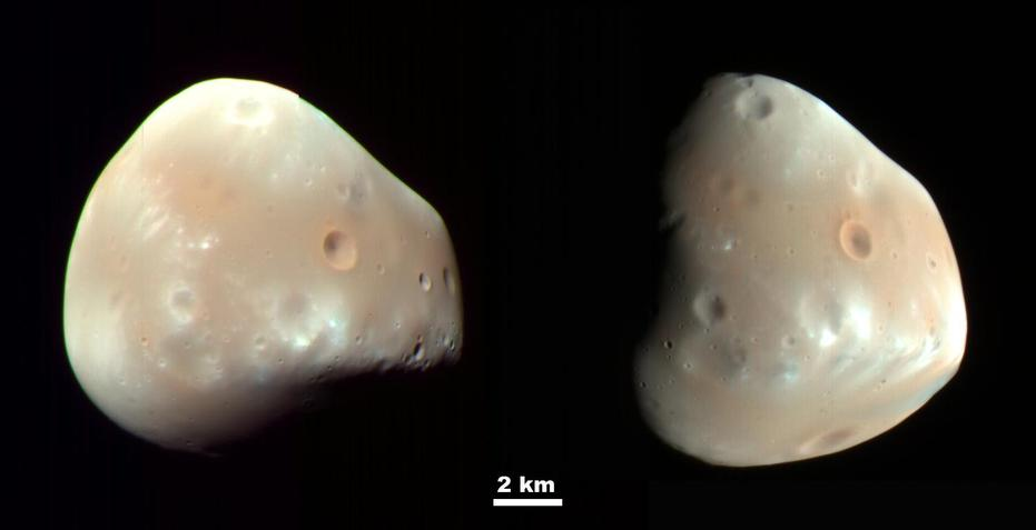 Deimos has a smooth surface due to a blanket of fragmental rock or regolith, except for the most recent impact craters. It is a dark, reddish object, very similar to Mars' other moon, Phobos.