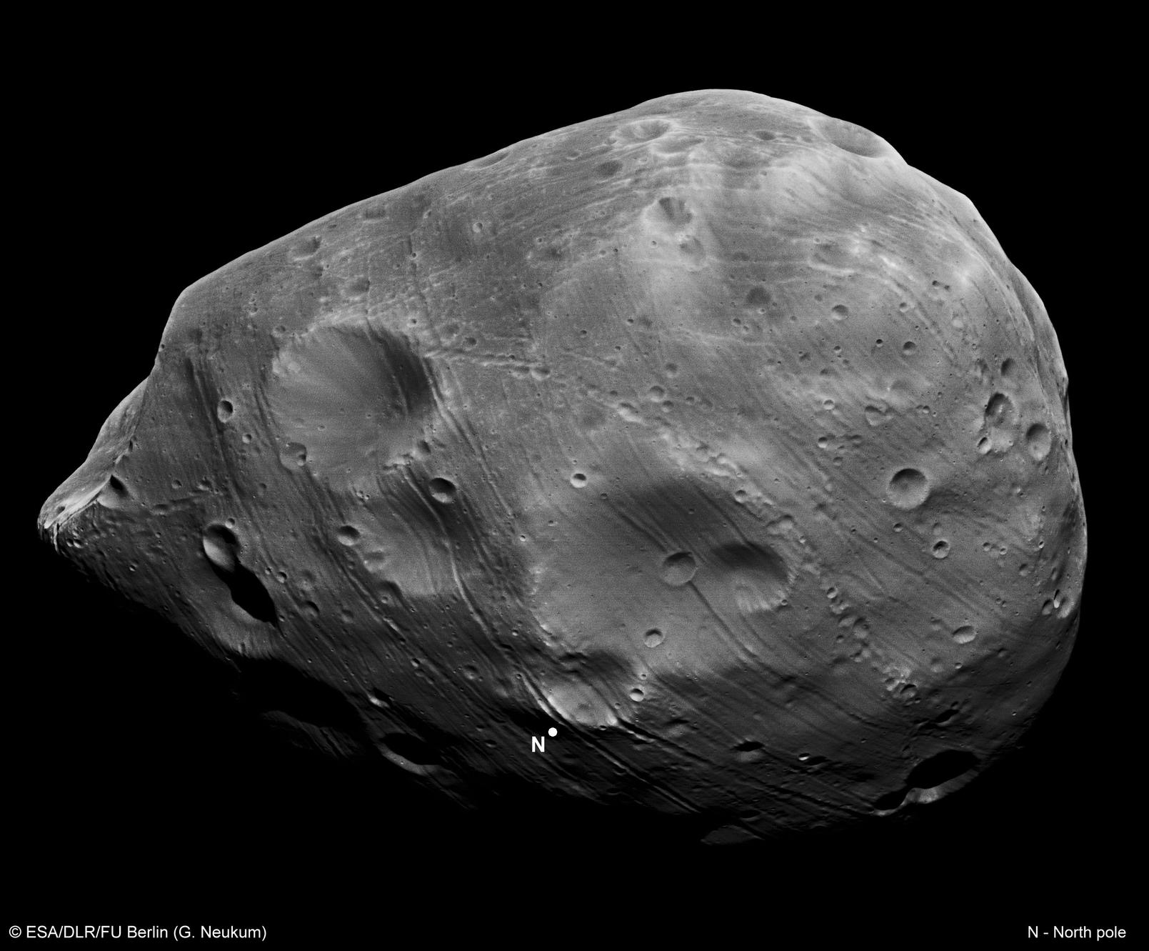 The origin of Phobos, the larger of the two moons orbiting Mars, remains unknown.
