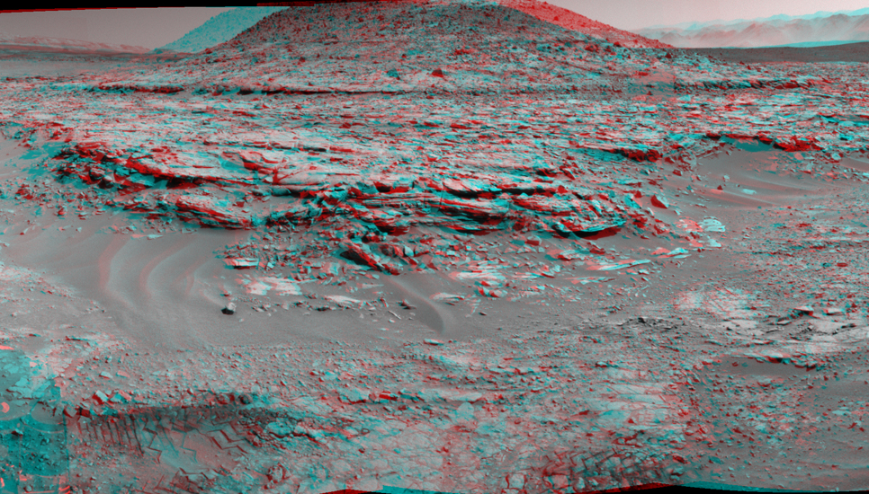 "NASA's Curiosity Mars rover used its Navigation Camera (Navcam) to record this stereo scene of a butte called ""Mount Remarkable"" and surrounding outcrops at a waypoint called ""the Kimberley"" inside Gale Crater."