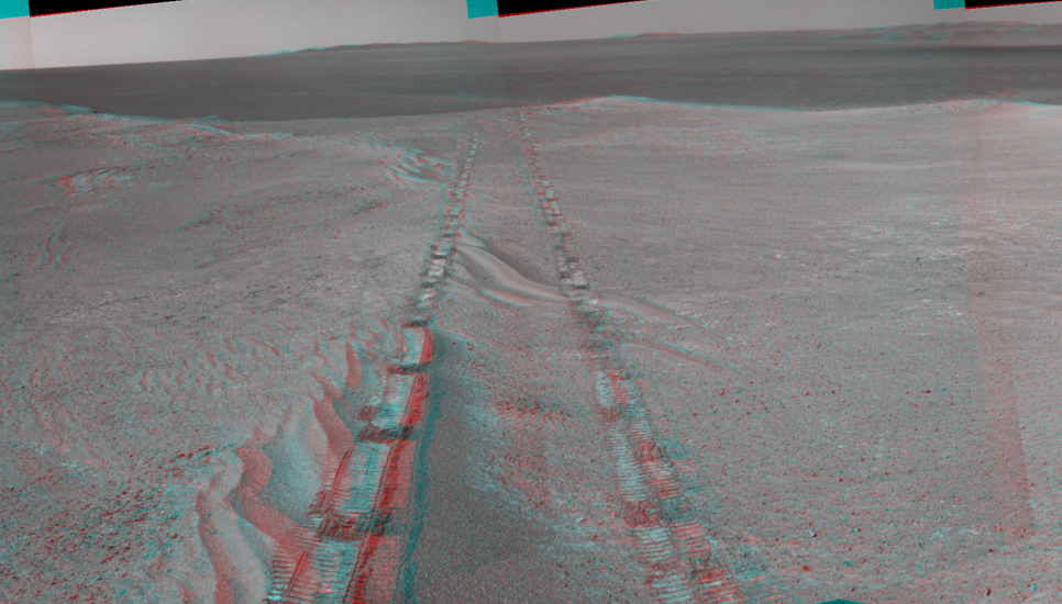 The component images for this stereo, 360-degree panorama were taken by the navigation camera on NASA's Mars Exploration Rover Opportunity after the rover drove about 97 feet (29.5 meters) during the mission's 3,642nd Martian day, or sol (April 22, 2014).