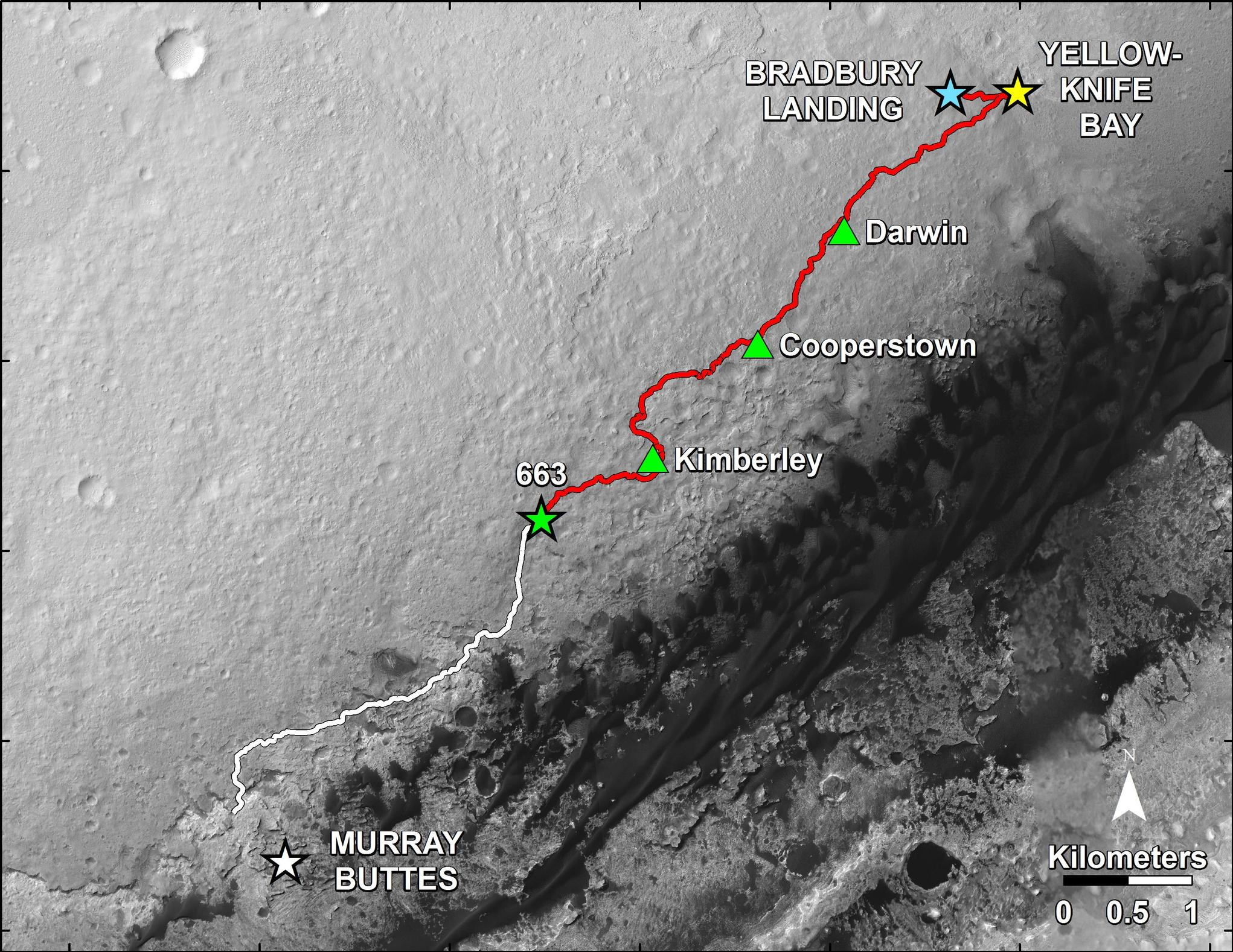 "This map shows in red the route driven by NASA's Curiosity Mars rover from the ""Bradbury Landing"" location where it landed in August 2012 to nearly the completion of its first Martian year. The white line shows the planned route ahead. The rover's June 18, 2014, location is marked as 663."
