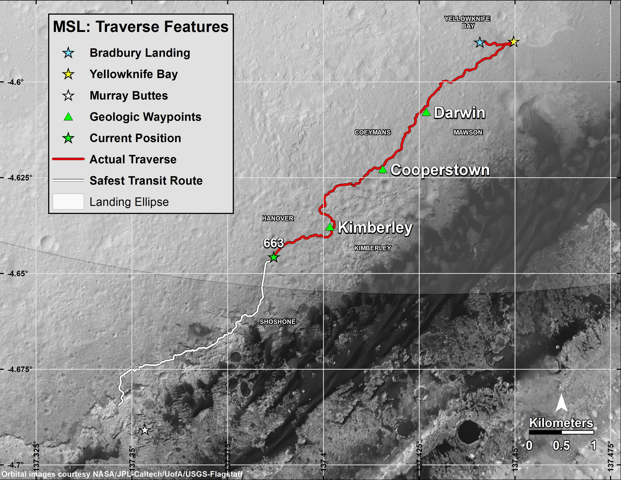 "This map shows in red the route driven by NASA's Curiosity Mars rover from its landing site at ""Bradbury Landing"" through the mission's 663rd Martian day, or sol (June 18, 2014). The white line shows the planned route to reach destinations on Mount Sharp. Sol 669 will complete one Martian year."