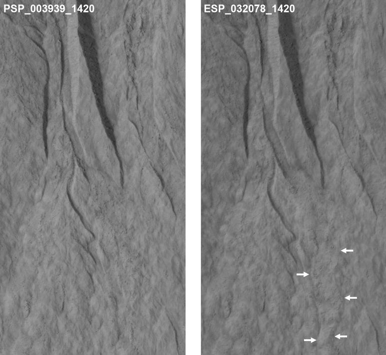 This pair of images covers one of many sites on Mars where researchers use the HiRISE camera on NASA's Mars Reconnaissance Orbiter to study changes in gullies on slopes.  Changes such as the ones visible in deposits near the lower end of this gully occur during winter and early spring on Mars.