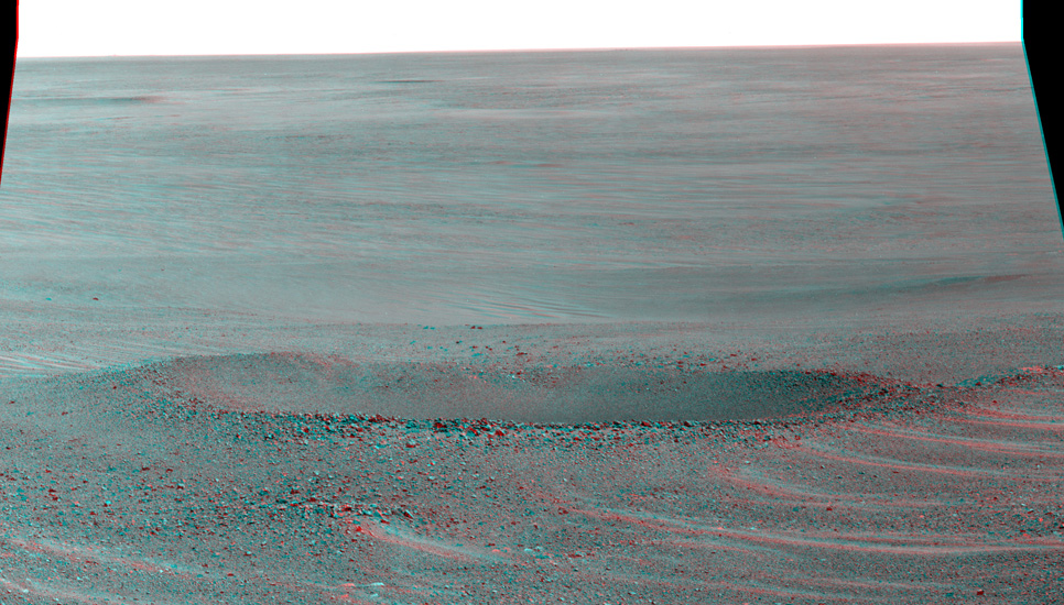 "This stereo view from NASA's Mars Exploration Rover Opportunity shows ""Lunokhod 2 Crater."""