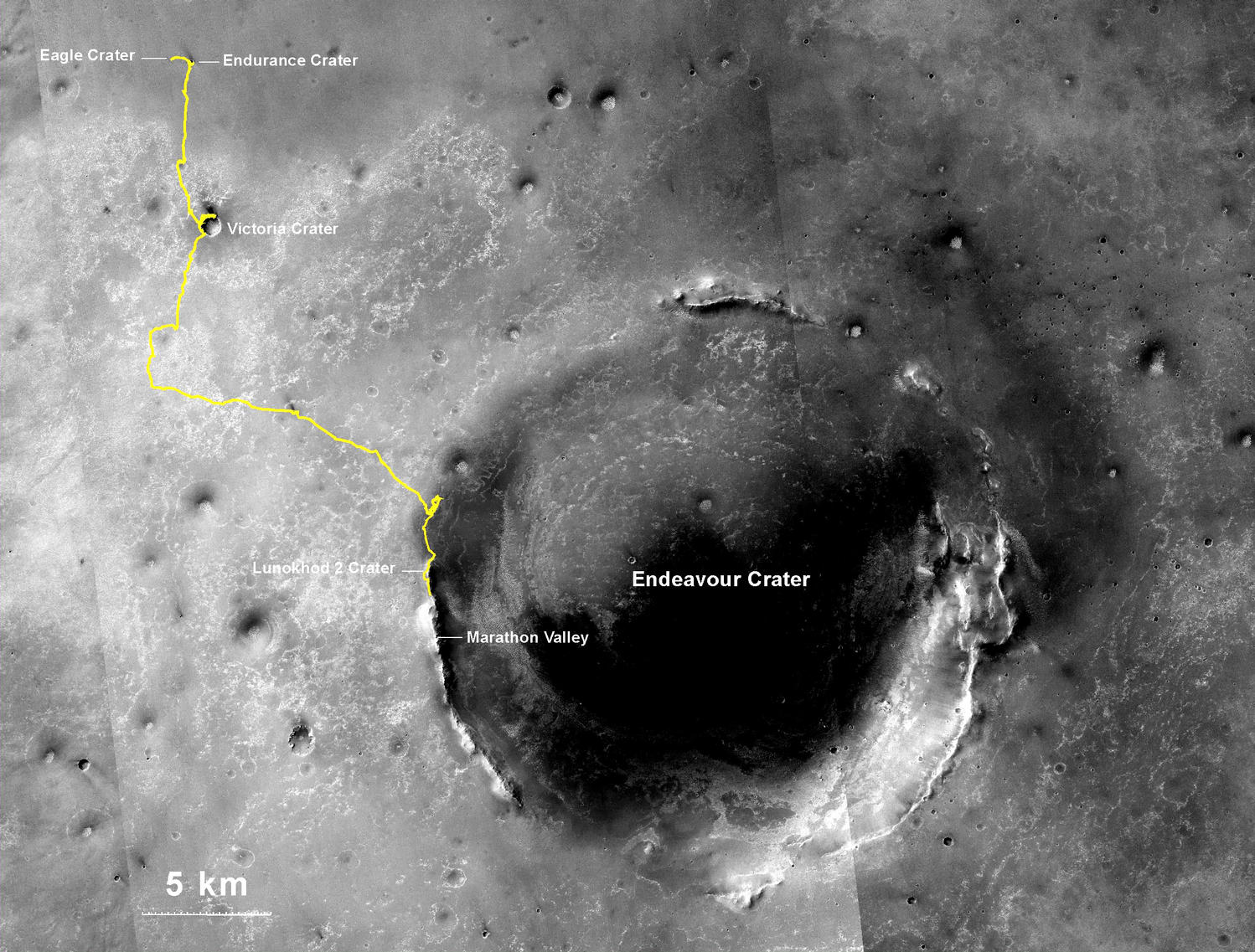 NASA's Mars Exploration Rover Opportunity, working on Mars since January 2004, passed 25 miles of total driving on the July 27, 2014. The gold line on this map shows Opportunity's route from the landing site inside Eagle Crater, in upper left, to its location after the July 27 (Sol 3735) drive.