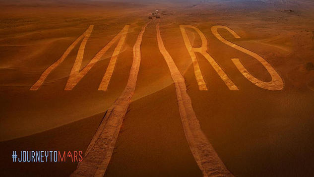 Mars, rover tracks, wheels, and the Martian surface are represented in this image