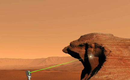 This picture shows a flat, rock-strewn surface with cliffs in the distance and a six-wheeled robotic vehicle in the foreground. A short distance to the right of the vehicle is a layered cliff. An instrument attached to the mast of the vehicle is shooting a beam of light at the surface of the cliff.