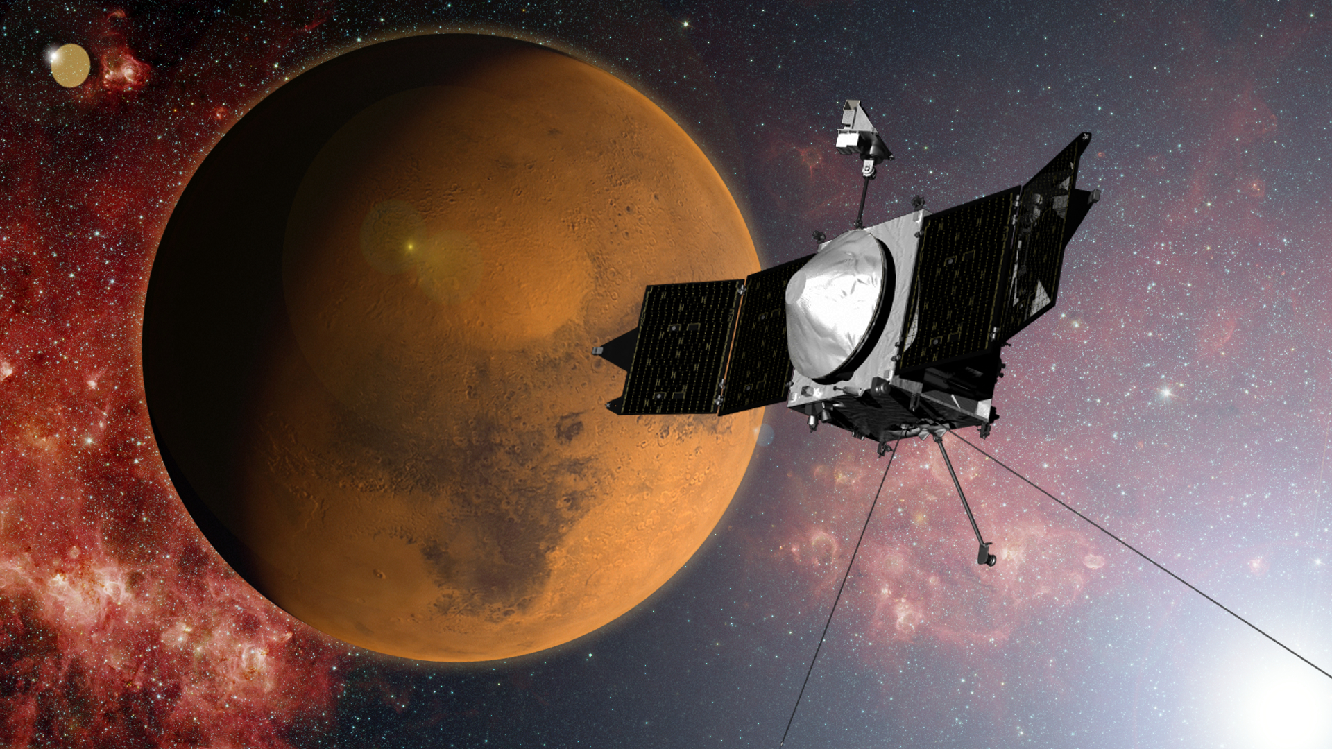 Artist's Concept of NASA's MAVEN Spacecraft Approaching Mars
