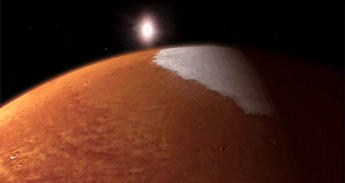 This animation depicts MAVEN orbiting Mars.