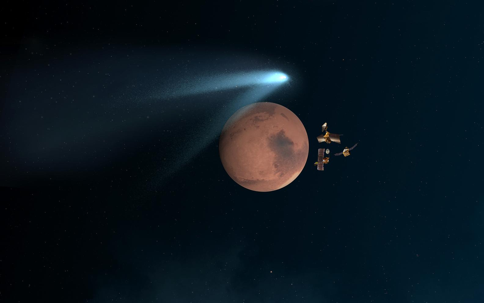 "This artist's concept shows NASA's Mars orbiters lining up behind the Red Planet for their ""duck and cover"" maneuver to shield them fro comet dust that may result from the close flyby of comet Siding Spring (C/2013 A1) on Oct. 19, 2014."