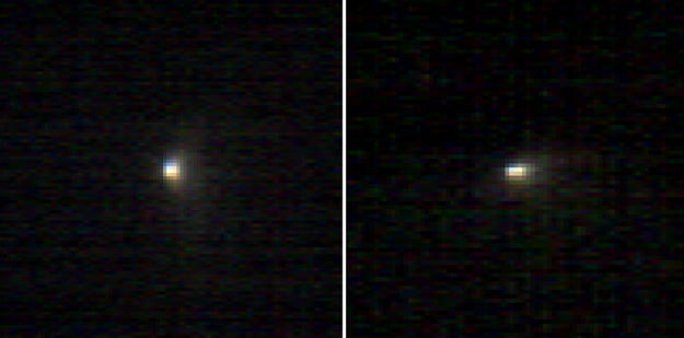 These two infrared images of comet C/2013 A1 Siding Spring were taken by the Compact Reconnaissance Imaging Spectrometer for Mars (CRISM) aboard NASA's Mars Reconnaissance Orbiter on Oct. 19, 2014. This Oort Cloud comet was making its first voyage through the inner solar system.