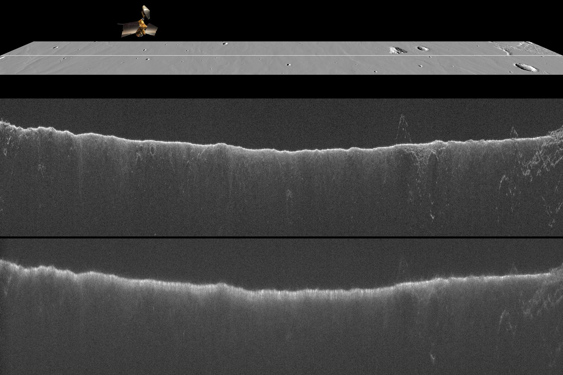 A comparison of two radargrams from the SHARAD instrument on NASA's Mars Reconnaissance Orbiter shows effects on the Martian ionosphere from the close passage of a comet.