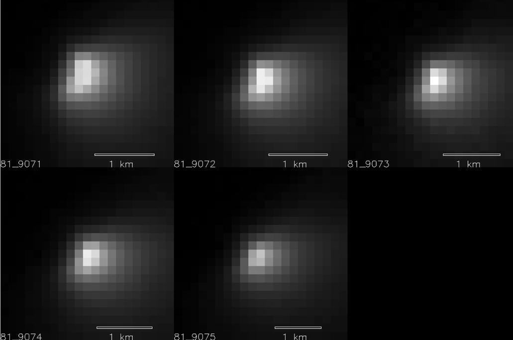 Five images of comet Siding Spring taken within a 35-minute period as it passed near Mars on Oct. 19, 2014, provide information about the size of the comet's nucleus. The images were acquired by the High Resolution Imaging Science Experiment (HiRISE) camera on NASA's Mars Reconnaissance Orbiter.