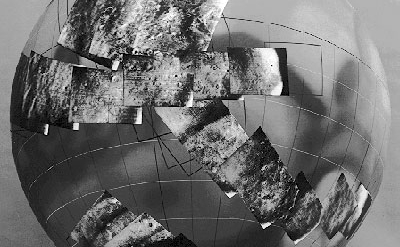 Mariner 6-7 images plotted on global view of Mars
