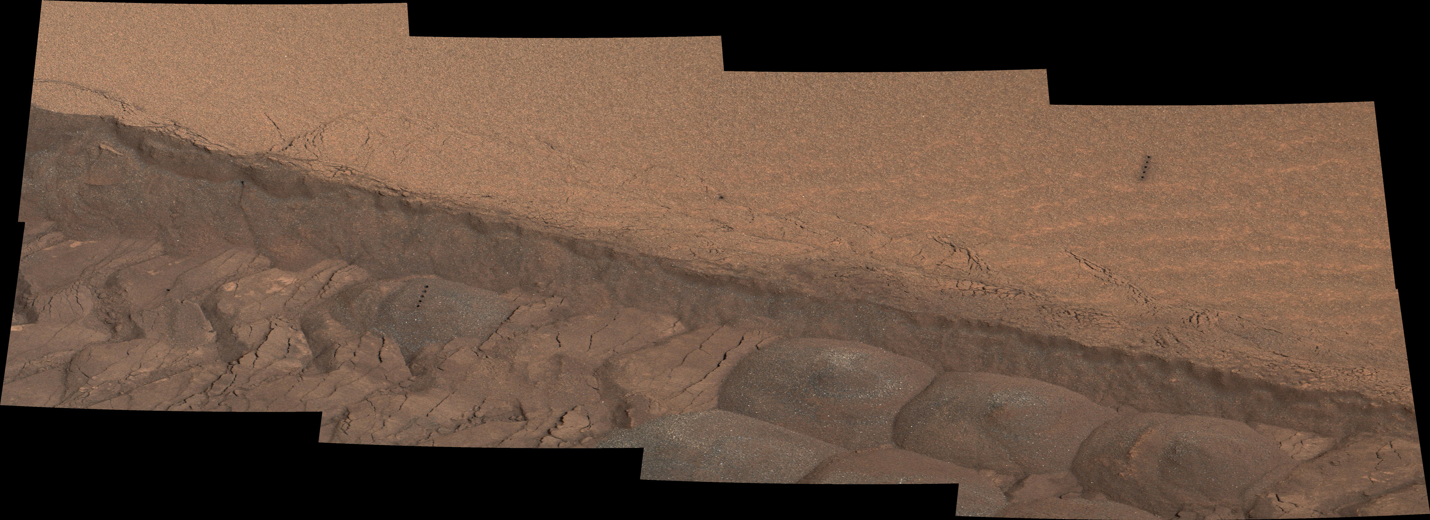 A wheel track cuts through a windblown ripple of dusty sand in this Nov. 7, 2014, image from the Mastcam on NASA's Curiosity rover. The view spans about four feet across. This experiment was planned for yielding a view of the inside of the ripple for assessment of particle sizes and composition.
