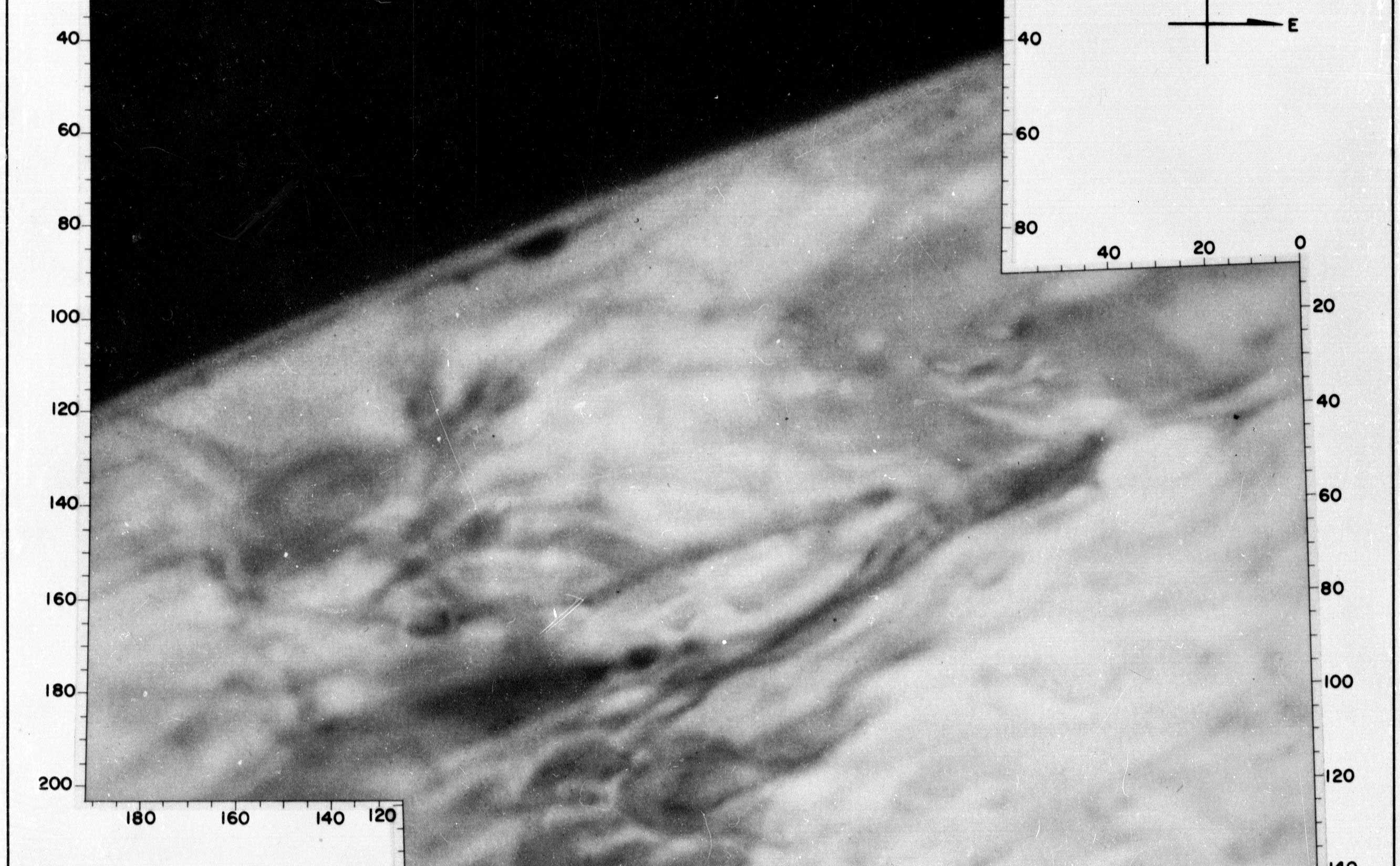 Orthographic shaded relief image using Mariner 4 frames 1