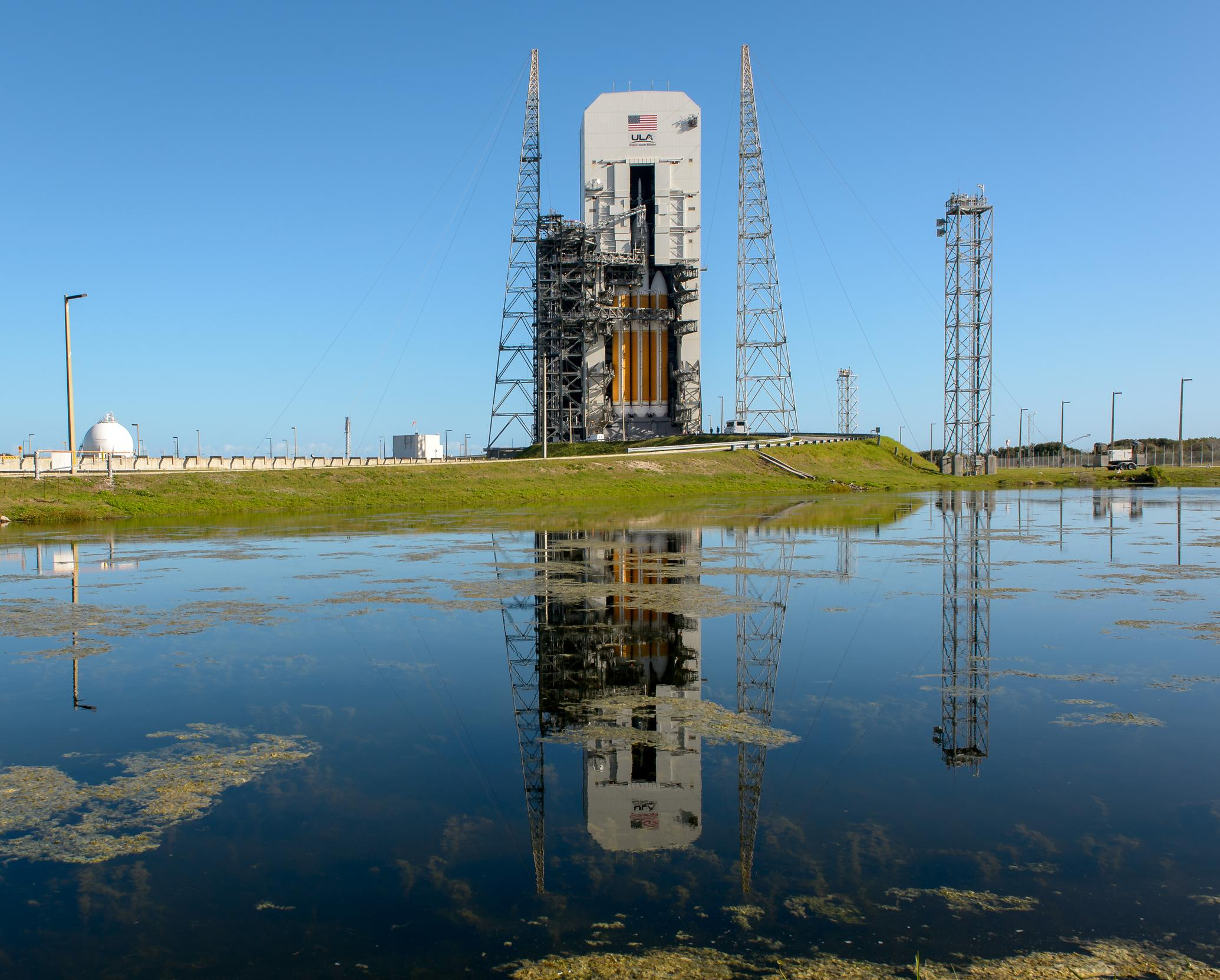 NASA's Orion spacecraft, mounted atop a United Launch Alliance Delta IV Heavy rocket.