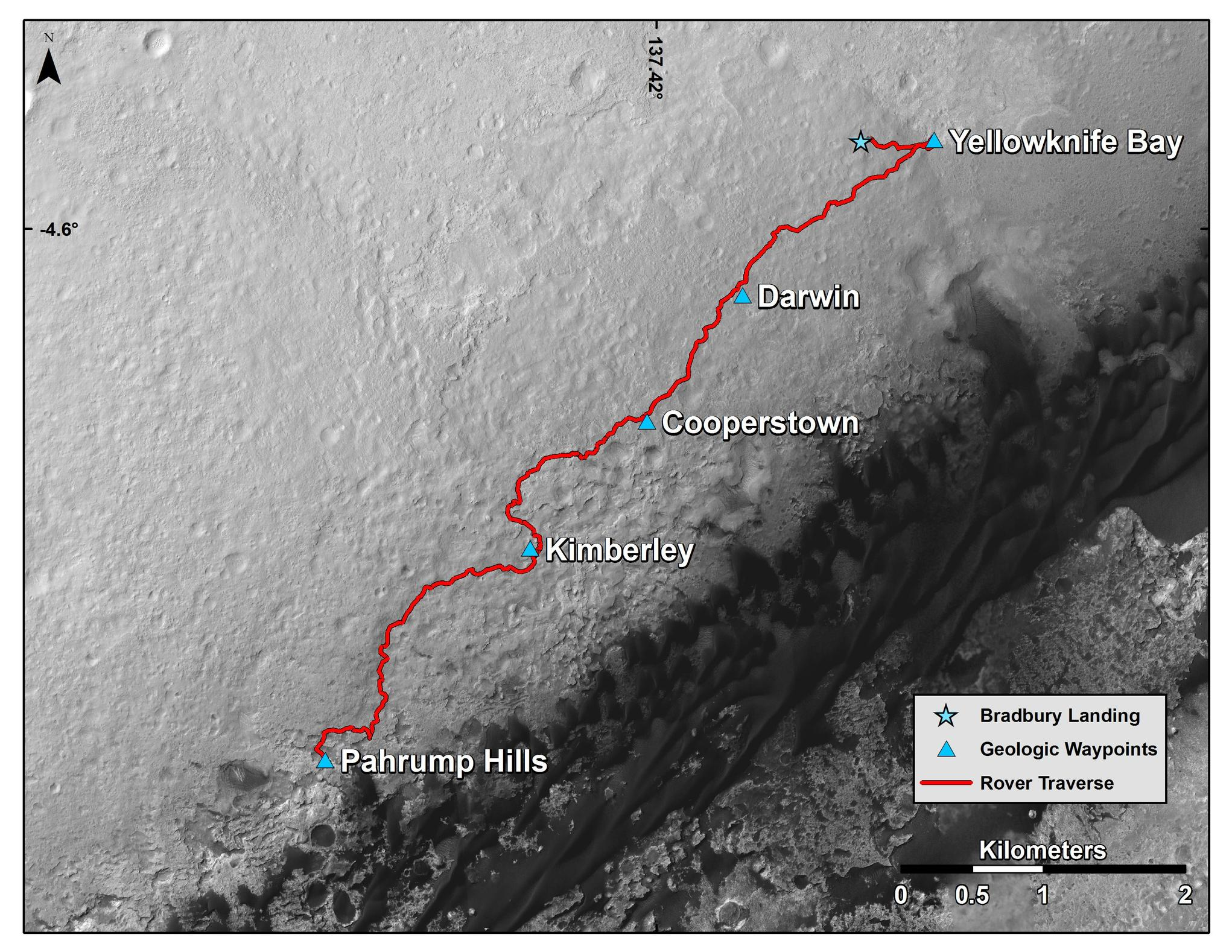 "This map shows the route driven by NASA's Curiosity Mars rover from the location where it landed in August 2012 to the ""Pahrump Hills"" outcrop at the base of Mount Sharp."
