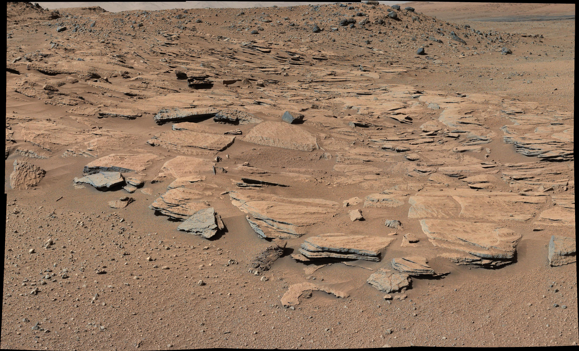 "This image from Curiosity's Mastcam shows inclined beds of sandstone interpreted as the deposits of small deltas fed by rivers flowing down from the Gale Crater rim and building out into a lake where Mount Sharp is now.  It was taken March 13, 2014, just north of the ""Kimberley"" waypoint."