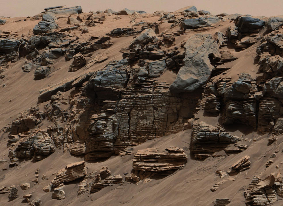 This evenly layered rock photographed by the Mast Camera (Mastcam) on NASA's Curiosity Mars Rover on Aug. 7, 2014, shows a pattern typical of a lake-floor sedimentary deposit not far from where flowing water entered a lake.