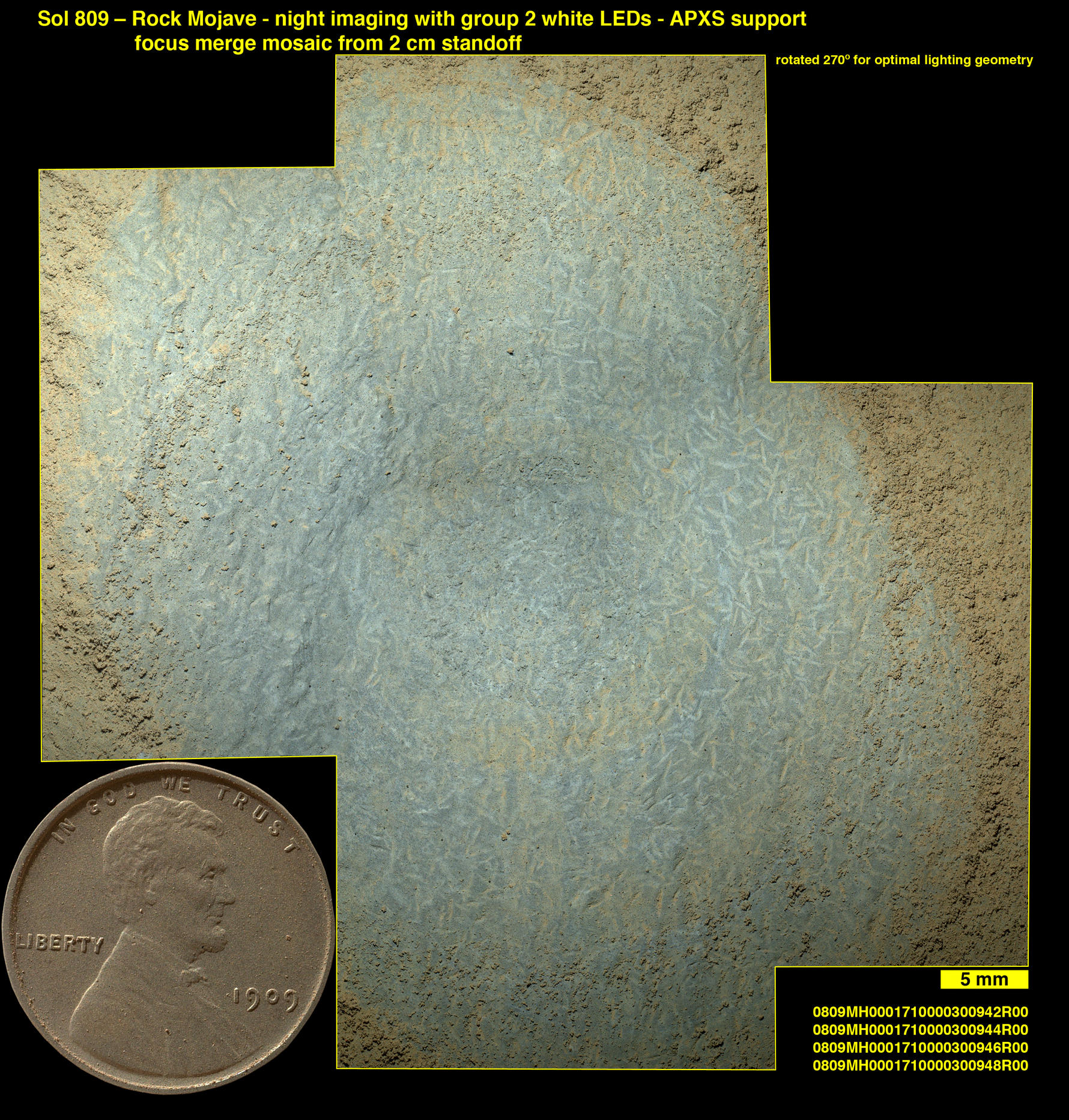 "Lozenge-shaped crystals are evident in this magnified view of a Martian rock target called ""Mojave,"" taken on Nov. 15, 2014, by the Mars Hand Lens Imager on the arm of NASA's Curiosity Mars rover. These features record concentration of dissolved salts, possibly in a drying lake."