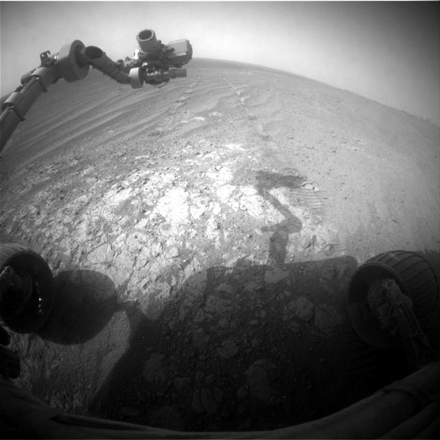 NASA's Mars Exploration Rover Opportunity is continuing its traverse southward on the western rim of Endeavour Crater during the fall of 2014, stopping to investigate targets of scientific interest along way.  This view is from Opportunity's front hazard avoidance camera on Nov. 26, 2014.
