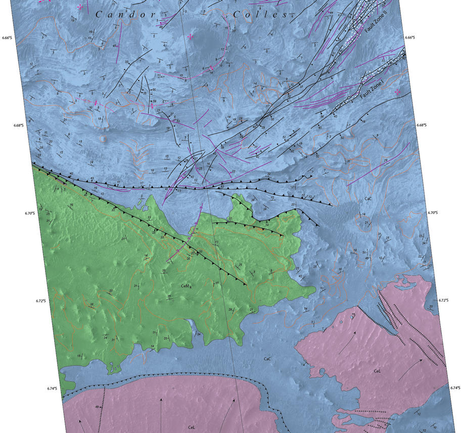 Details of hilly terrain within a large Martian canyon are shown on a geological map based on observations from NASA's Mars Reconnaissance Orbiter and produced by the U.S. Geological Survey.