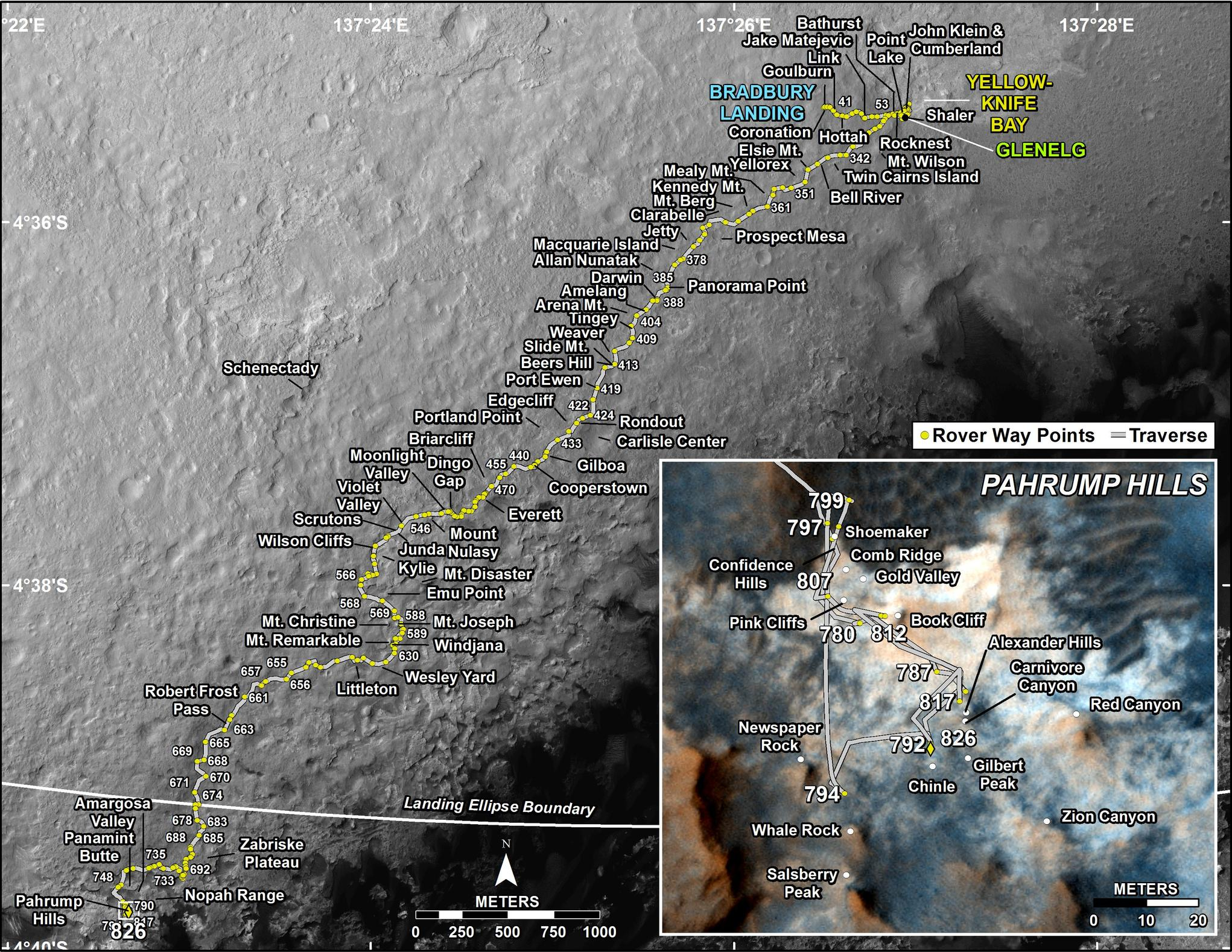 This map shows the route driven by NASA's Mars rover Curiosity through the 826 Martian day, or sol, of the rover's mission on Mars (December, 03, 2014).