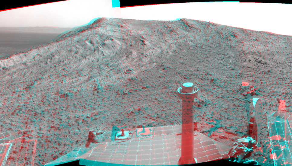 "NASA's Mars Exploration Rover Opportunity recorded this stereo view of the summit of ""Cape Tribulation,"" on the western rim of Endeavour Crater, on the day before the rover drove to the top."