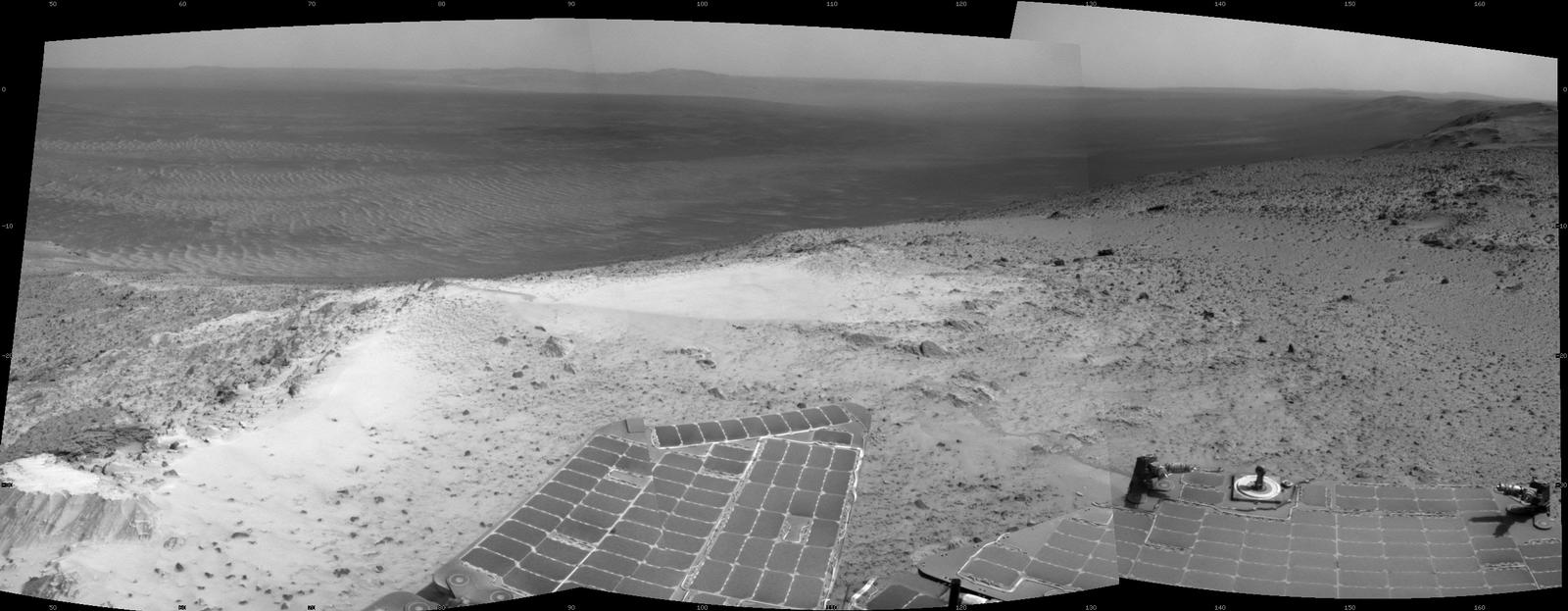 "NASA's Mars Exploration Rover Opportunity recorded this view just after reaching the summit of ""Cape Tribulation,"" on the western rim of Endeavour Crater, on Jan. 6, 2015, the 3,894th Martian day, or sol, of the rover's work on Mars."