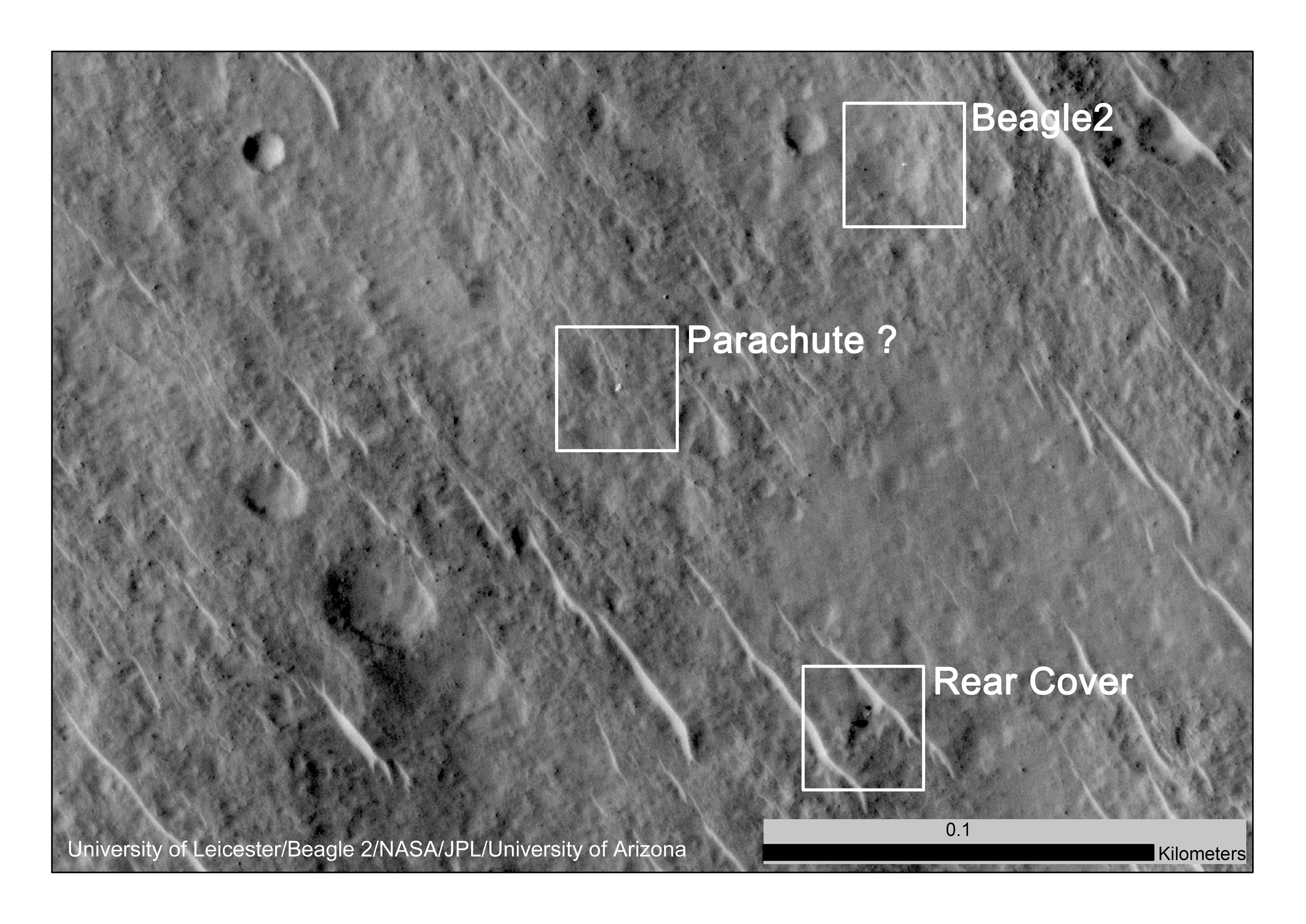 This annotated image shows where features seen in an observation by NASA's Mars Reconnaissance Orbiter have been interpreted as hardware from the Dec. 25, 2003, arrival at Mars of the United Kingdom's Beagle 2 Lander.