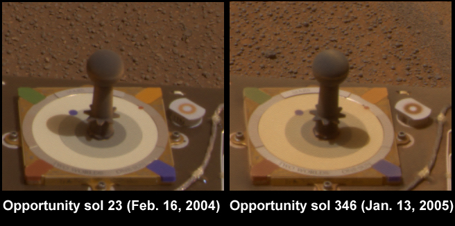 Since landing on Mars a year ago, NASA's pair of six-wheeled geologists have been constantly exposed to martian winds and dust.