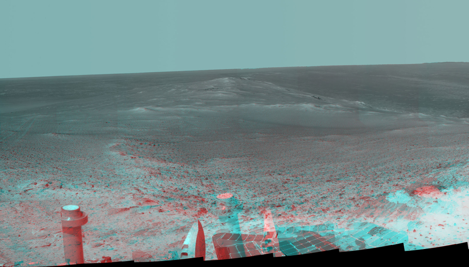 "This stereo panorama shows the view NASA's Mars Exploration Rover Opportunity gained from the top of the ""Cape Tribulation"" segment of the rim of Endeavour Crater."