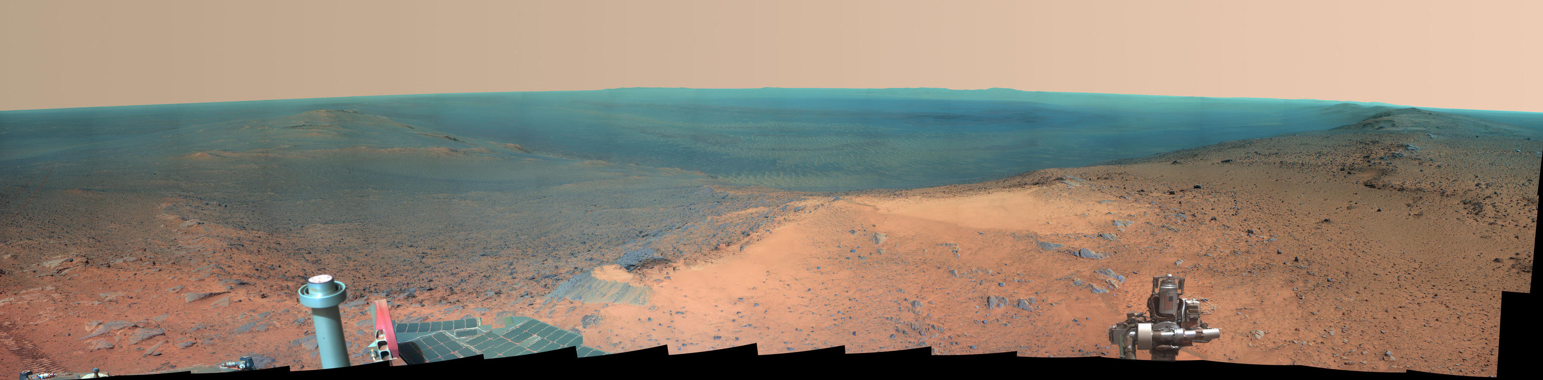 "NASA's Mars Exploration Rover Opportunity obtained this view from the top of the ""Cape Tribulation"" segment of the rim of Endeavour Crater. The rover reached this point three weeks before the 11th anniversary of its January 2004 landing on Mars."