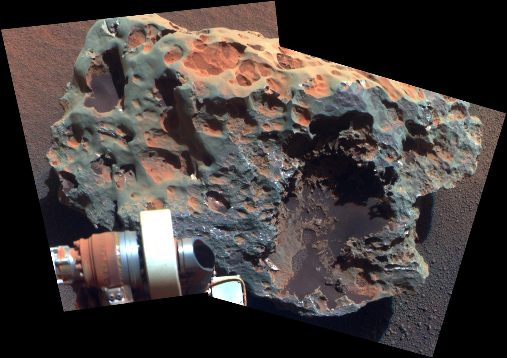 "This view of a rock called ""Block Island,"" the largest meteorite yet found on Mars, comes from the panoramic camera (Pancam) on NASA's Mars Exploration Rover Opportunity."