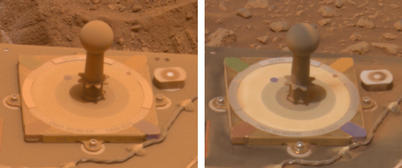 These two images from 10 days apart show that dust was removed from the panoramic camera's calibration target on NASA's Mars Exploration Rover Spirit.