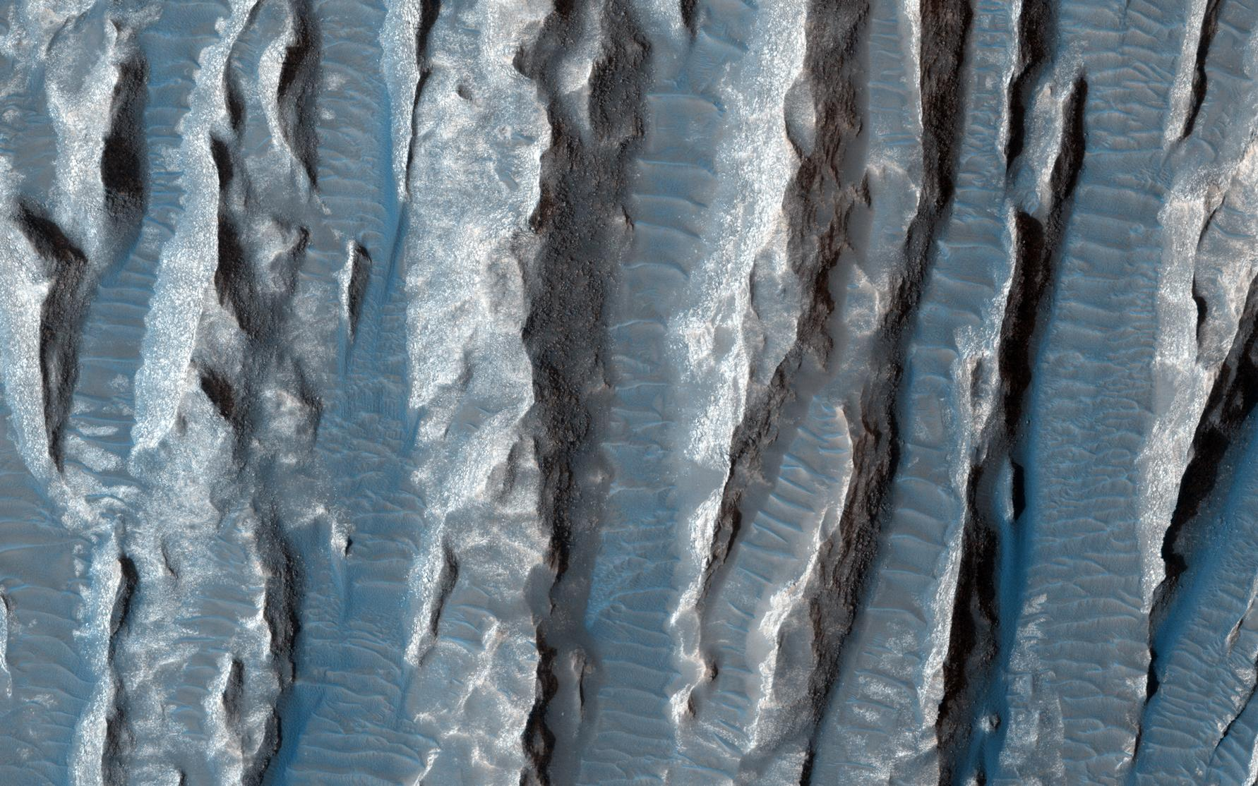 This view of Martian surface features shaped by effects of winds was captured by the HiRISE camera on NASA's Mars Reconnaissance Orbiter on Jan. 4, 2015.  The spacecraft has been orbiting Mars since March 2006. On Feb. 7, 2015, it completed its 40,000th orbit around Mars.