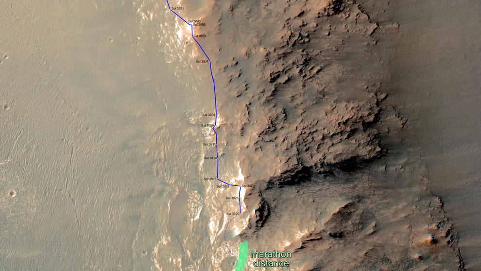In February 2015, NASA's Mars Exploration Rover Opportunity is approaching a cumulative driving distance on Mars equal to the length of a marathon race. This map shows the rover's position relative to where it could surpass that distance.