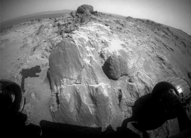 The flat-faced rock near the center of this image is a target for contact investigation by NASA's Mars Exploration Rover Opportunity in early March 2015.
