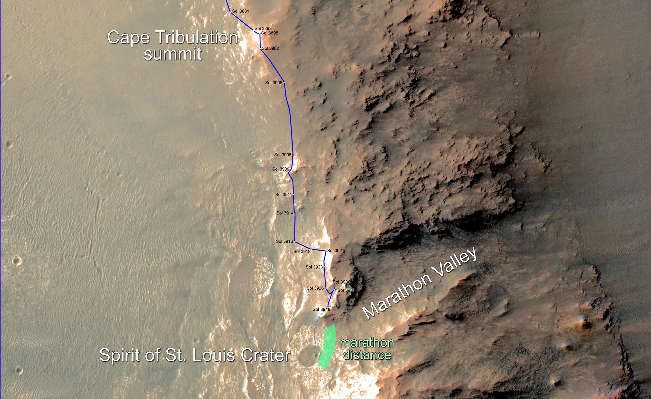 This map updates progress that NASA's Mars Exploration Rover Opportunity is making toward reaching a driving distance equivalent to a marathon footrace. It indicates the rover position on March 5, 2015, relative to where it could surpass that distance.