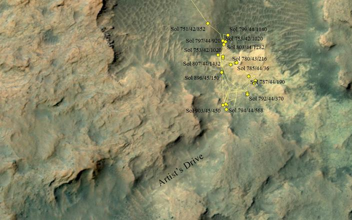 "This area at the base of Mount Sharp on Mars includes a pale outcrop, called ""Pahrump Hills,"" that NASA's Curiosity Mars rover investigated from September 2014 to March 2015, and the ""Artist's Drive"" route toward higher layers of the mountain."
