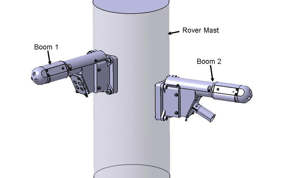 This engineering drawing show a section of the ccylindrical rover mast with two small booms extending laterally from it.  The ooms are labeled Boom 1 (on the left and Boom 2 (on the right).