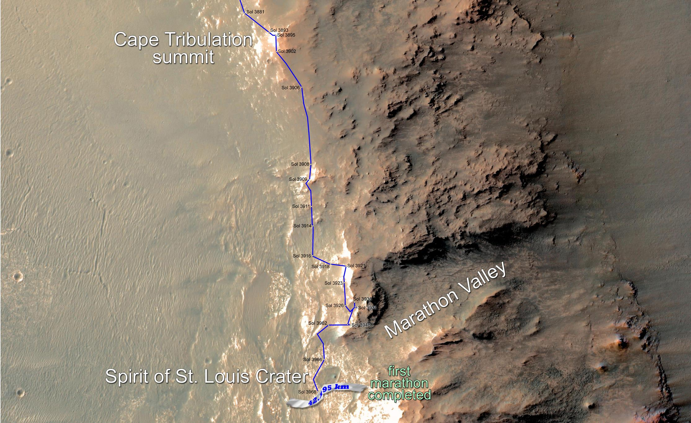 Eleven years and two months after its landing on Mars, the total driving distance of NASA's Opportunity Mars rover surpassed the length of a marathon race: 26.219 miles (42.195 kilometers). This map shows the rover's path from late December 2014 until it passed marathon distance on March 24, 2015.