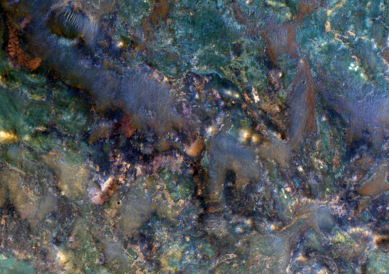 This image covers a region of Mars near Nili Fossae that contains some of the best exposures of ancient bedrock on Mars.