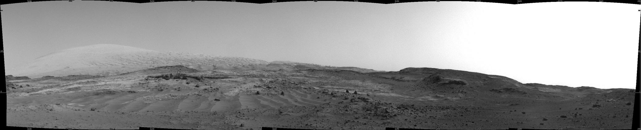 "NASA's Curiosity Mars rover used its Navigation Camera to capture this view on April 11, 2015, during passage through a valley called ""Artist's Drive"" on the route up Mount Sharp."