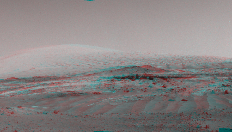 NASA's Curiosity Mars rover used its Navigation Camera (Navcam) to capture this view on April 11, 2015, during the 952nd Martian day, or sol of the rover's work on Mars.